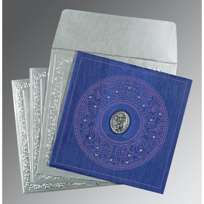 Blue Wooly Screen Printed Wedding Card : I-8214Q - 123WeddingCards