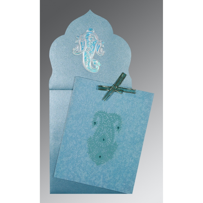 Blue Wooly Screen Printed Wedding Invitations : RU-1382 - 123WeddingCards