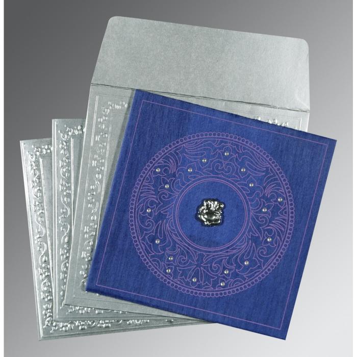 Blue Wooly Screen Printed Wedding Card : W-8214Q - 123WeddingCards