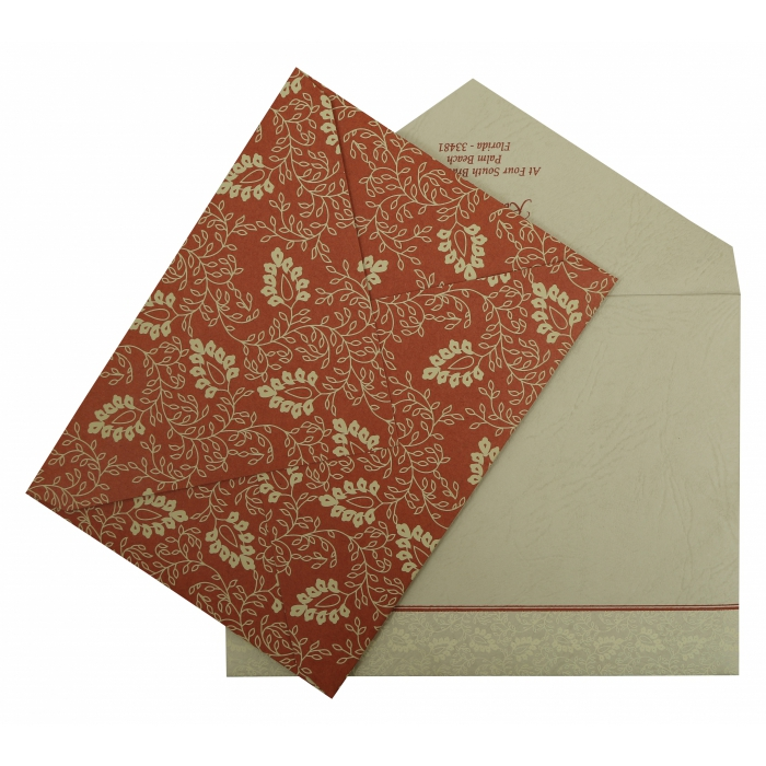 BRICK RED MATTE PAISLEY THEMED - SCREEN PRINTED WEDDING INVITATION : IN-811B - 123WeddingCards