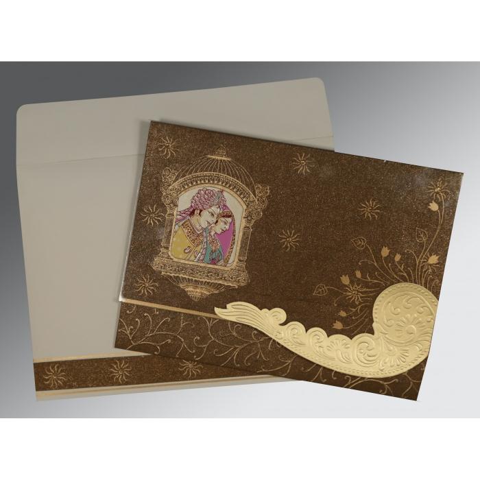 Brown Handmade Shimmer Embossed Wedding Card : W-1405 - 123WeddingCards