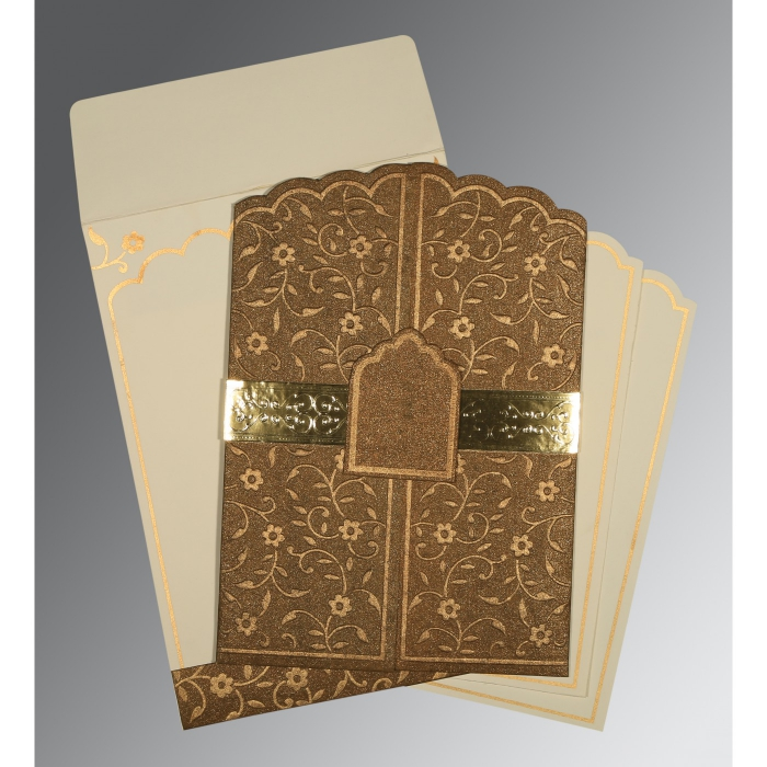 MCKENZIE GOLD HANDMADE SHIMMER FLORAL THEMED - EMBOSSED WEDDING INVITATION : D-1422 - 123WeddingCards