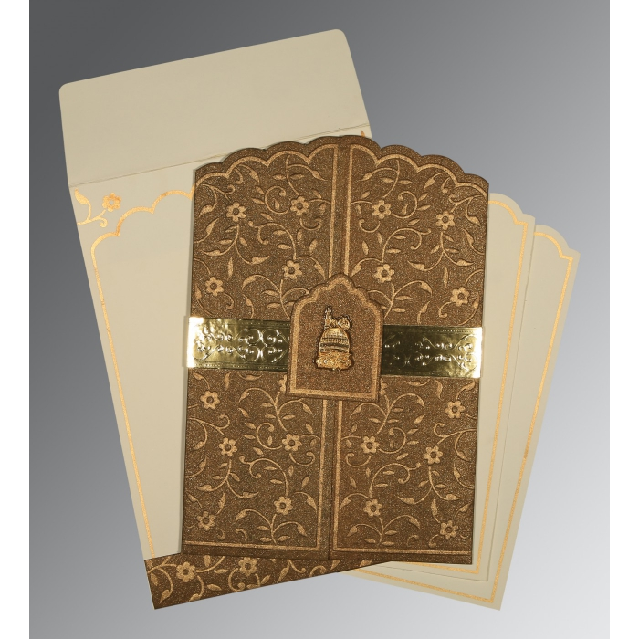 MCKENZIE GOLD HANDMADE SHIMMER FLORAL THEMED - EMBOSSED WEDDING INVITATION : I-1422 - 123WeddingCards