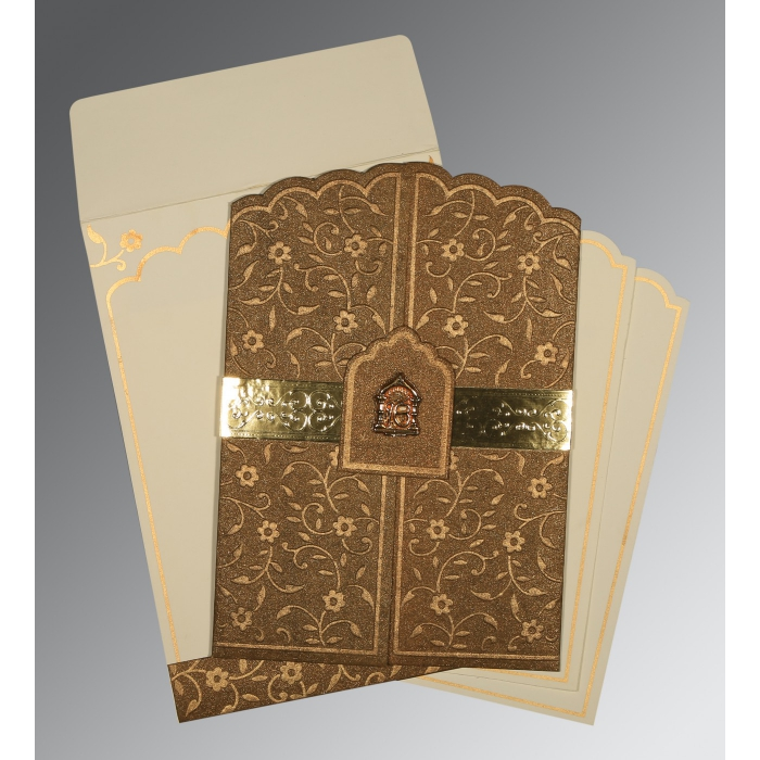 Brown Handmade Shimmer Floral Themed - Embossed Wedding Invitation : RU-1422 - 123WeddingCards