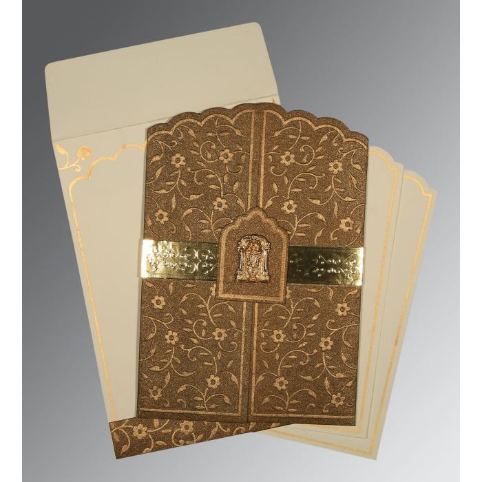 Brown Handmade Shimmer Floral Themed - Embossed Wedding Invitation : SO-1422 - 123WeddingCards
