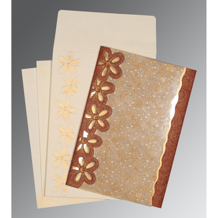 Brown Handmade Shimmer Floral Themed - Screen Printed Wedding Card : D-1439 - 123WeddingCards