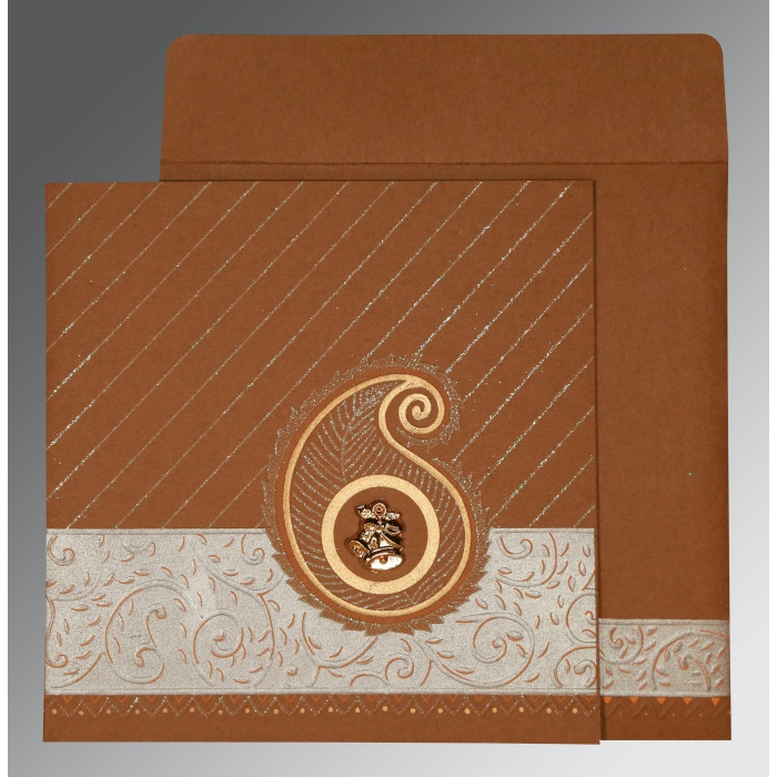 DARK ORANGE MATTE EMBOSSED WEDDING CARD : C-1178 - 123WeddingCards