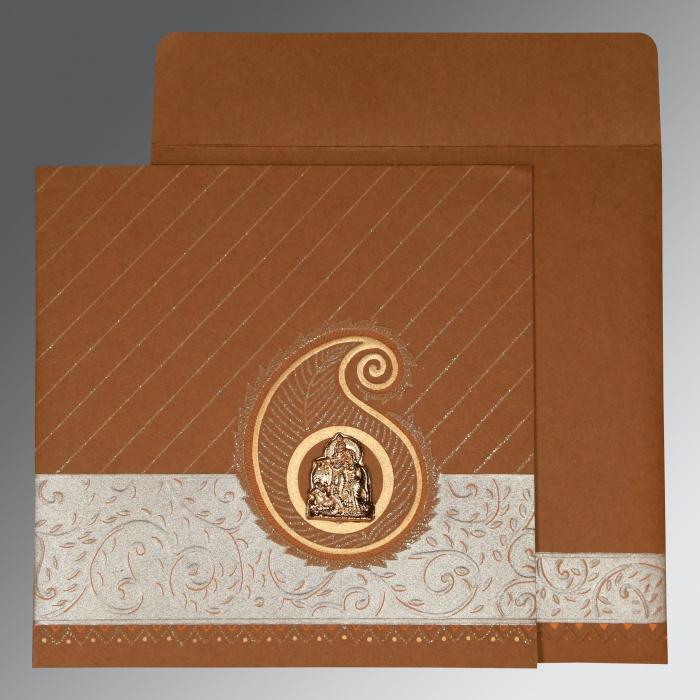 Brown Matte Embossed Wedding Card : G-1178 - 123WeddingCards