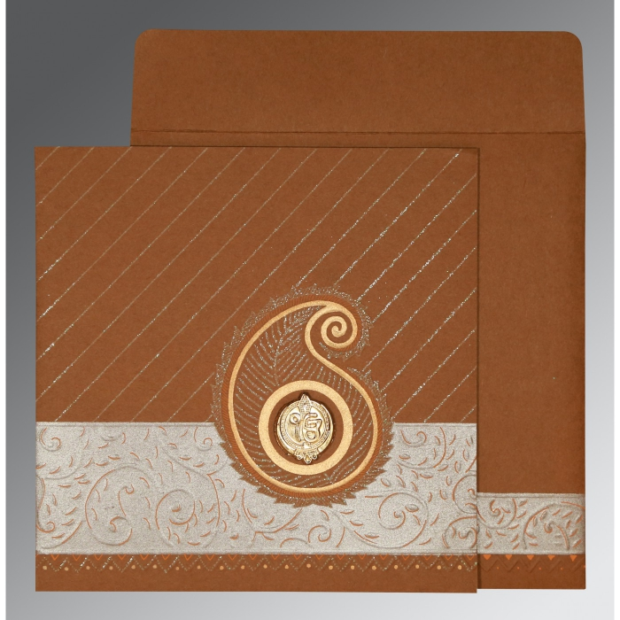 Brown Matte Embossed Wedding Card : S-1178 - 123WeddingCards