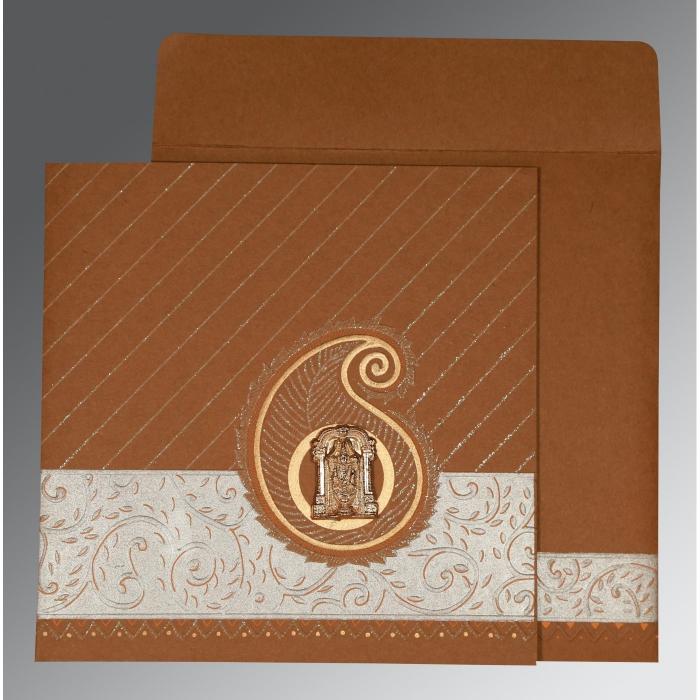 Brown Matte Embossed Wedding Card : SO-1178 - 123WeddingCards