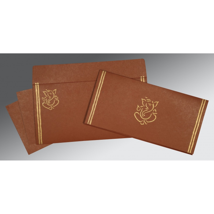 MEDIUM BROWN MATTE EMBOSSED WEDDING CARD : W-2182 - 123WeddingCards