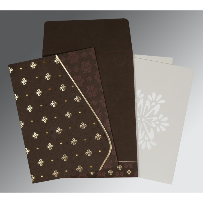 DARK BROWN MATTE FLORAL THEMED - FOIL STAMPED WEDDING INVITATION : C-8237L - 123WeddingCards
