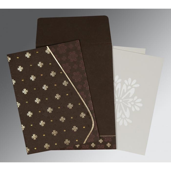 Brown Matte Floral Themed - Foil Stamped Wedding Invitation : I-8237L - 123WeddingCards