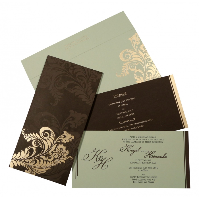 DARK BROWN MATTE FLORAL THEMED - SCREEN PRINTED WEDDING CARD : C-8259C - 123WeddingCards
