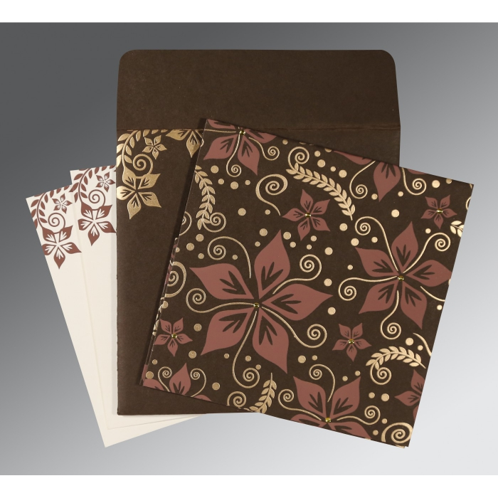 Brown Matte Floral Themed - Screen Printed Wedding Invitation : I-8240E - 123WeddingCards