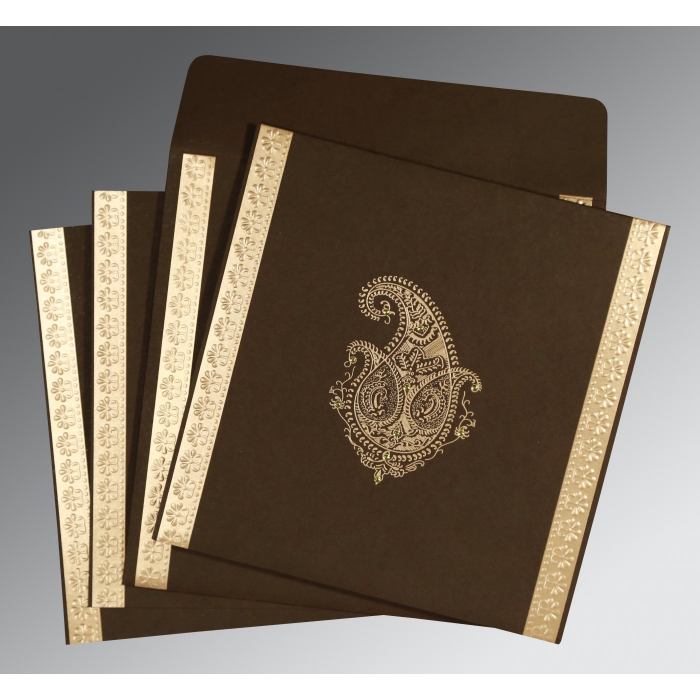 MOROCCO BROWN MATTE PAISLEY THEMED - EMBOSSED WEDDING INVITATION : D-8231D - 123WeddingCards