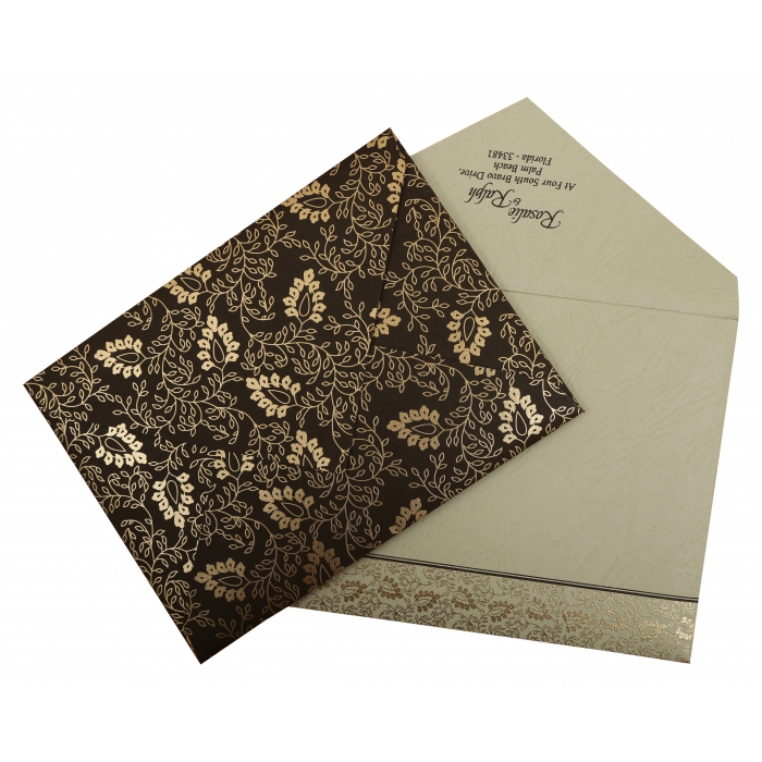 BROWN MATTE PAISLEY THEMED - SCREEN PRINTED WEDDING INVITATION : IN-811A - 123WeddingCards