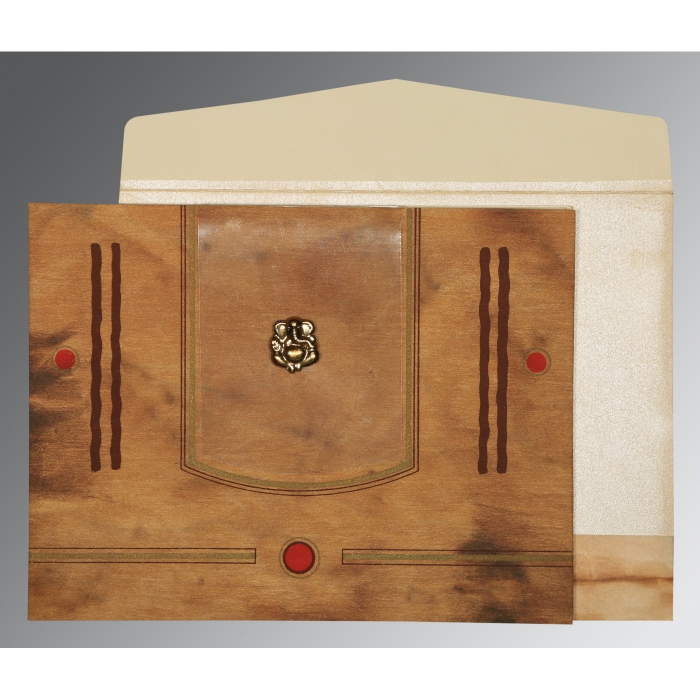 Brown Matte Screen Printed Wedding Card : W-1204 - 123WeddingCards