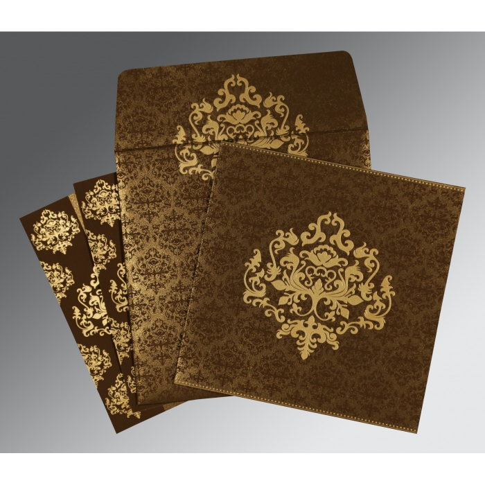 BROWN SHIMMERY DAMASK THEMED - SCREEN PRINTED WEDDING CARD : C-8254F - 123WeddingCards