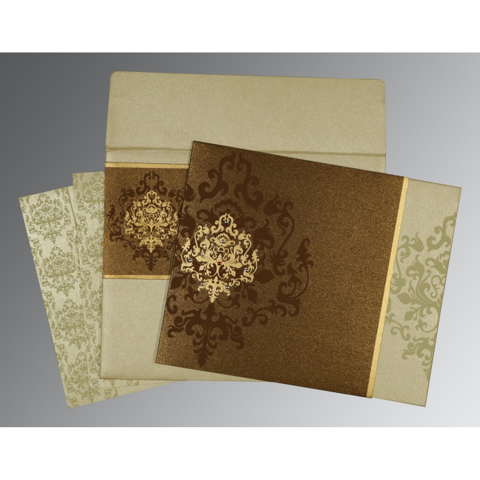 Brown Shimmery Damask Themed - Screen Printed Wedding Card : RU-8253A - 123WeddingCards