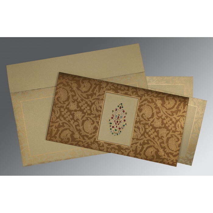 BROWN CREAM SHIMMERY EMBOSSED WEDDING INVITATION : W-1426 - 123WeddingCards