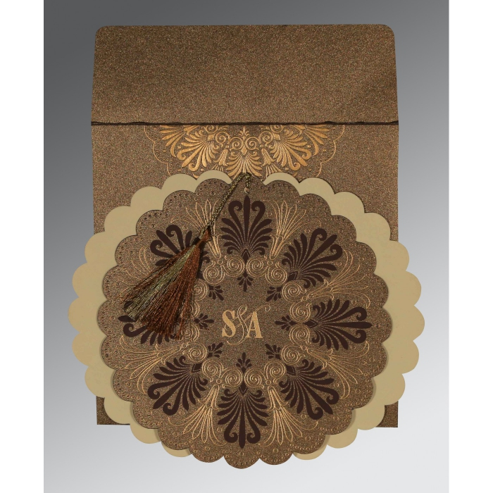 Brown Shimmery Floral Themed - Embossed Wedding Card : IN-8238G - 123WeddingCards