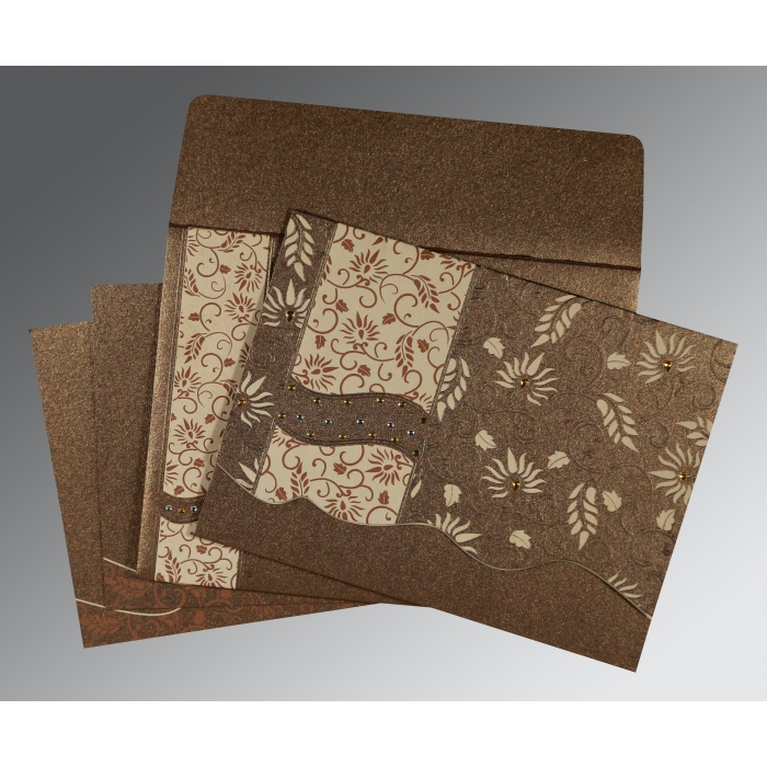 Brown Shimmery Floral Themed - Embossed Wedding Invitation : W-8236I - 123WeddingCards
