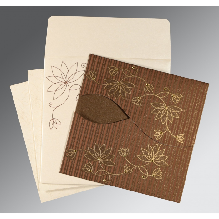 BROWN SHIMMERY FLORAL THEMED - SCREEN PRINTED WEDDING INVITATION : D-8251F - 123WeddingCards