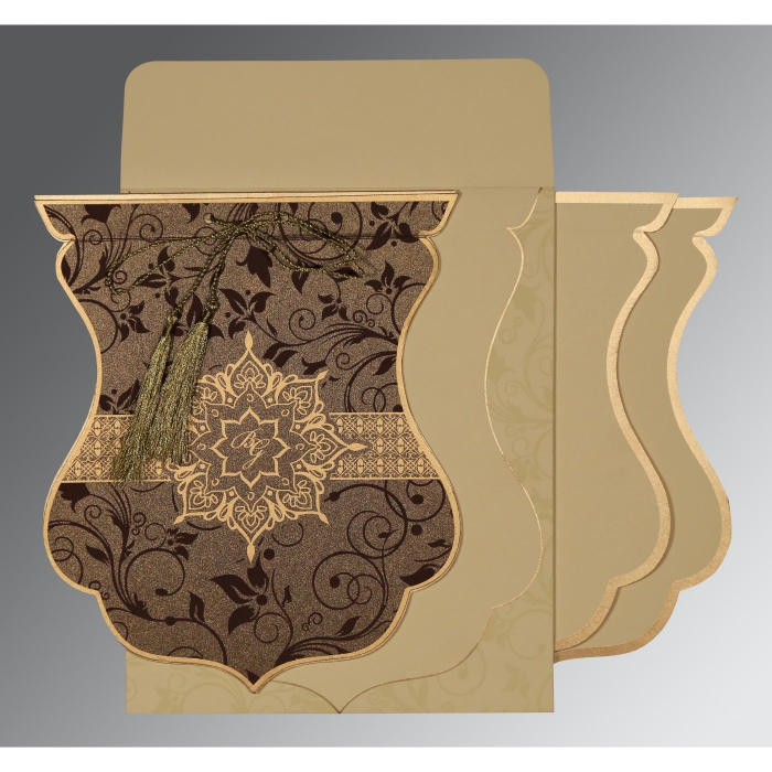 Brown Shimmery Floral Themed - Screen Printed Wedding Card : G-8229C - 123WeddingCards