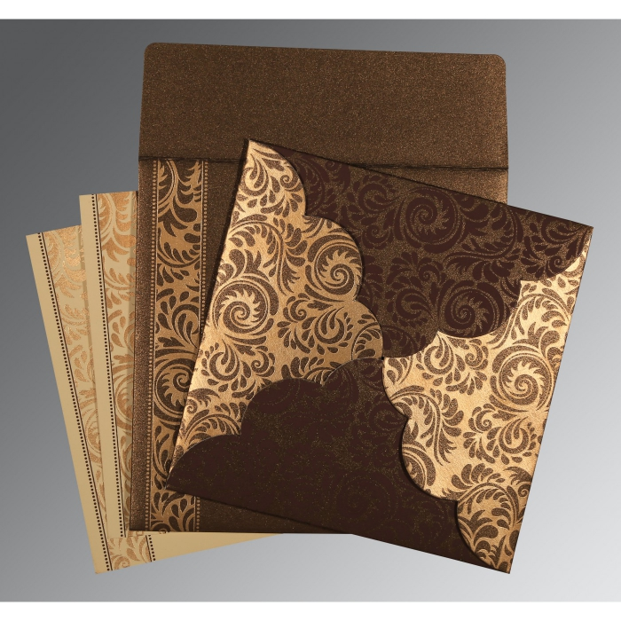 Brown Shimmery Floral Themed - Screen Printed Wedding Card : I-8235K - 123WeddingCards