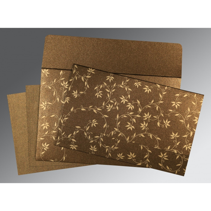BROWN SHIMMERY FLORAL THEMED - SCREEN PRINTED WEDDING INVITATION : IN-8226N - 123WeddingCards