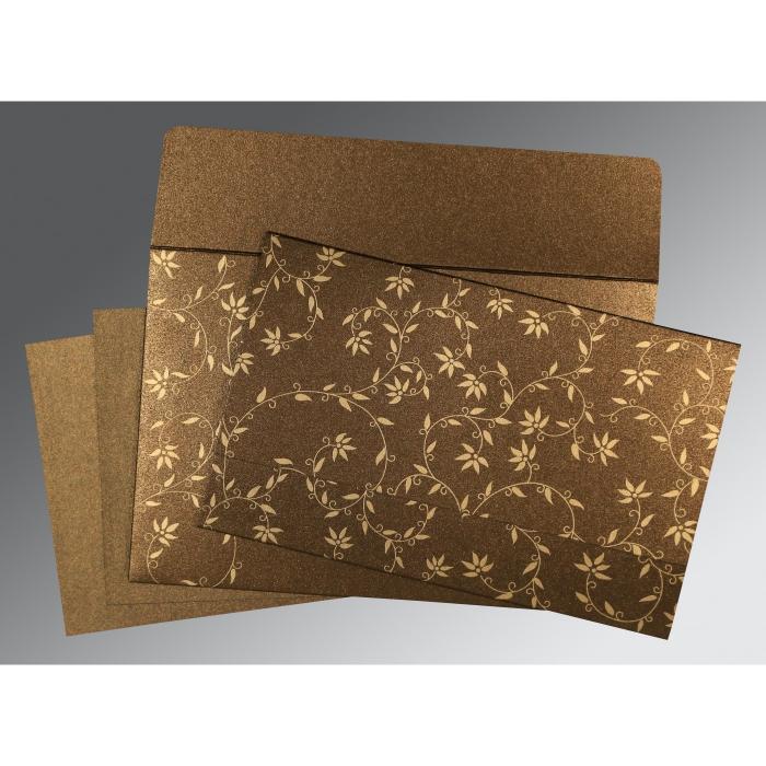 Brown Shimmery Floral Themed - Screen Printed Wedding Invitations : RU-8226N - 123WeddingCards