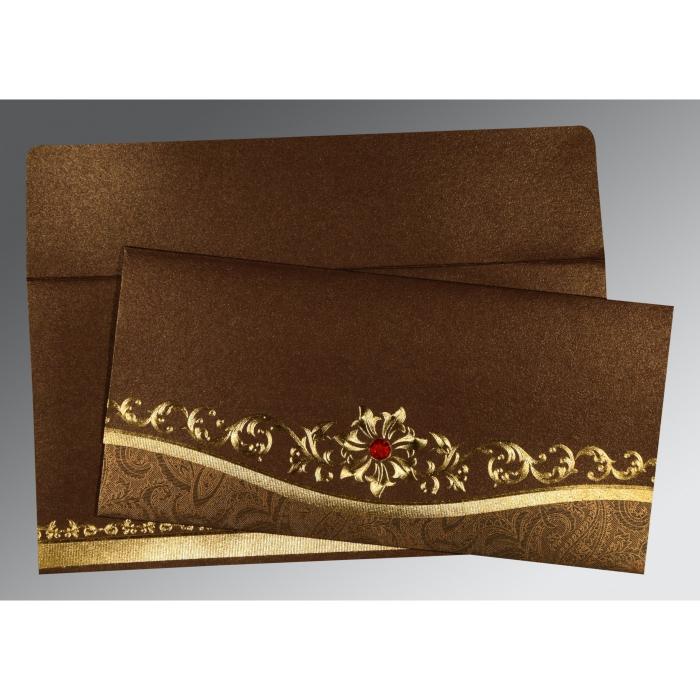 METALLIC BROWN SHIMMERY FOIL STAMPED WEDDING INVITATION : W-1499 - 123WeddingCards