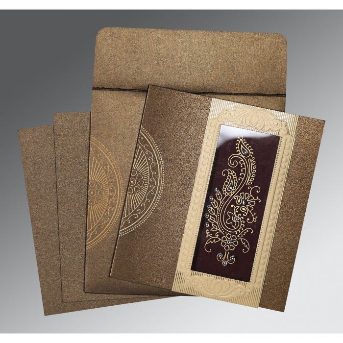 Brown Shimmery Paisley Themed - Foil Stamped Wedding Invitations : D-8230M - 123WeddingCards