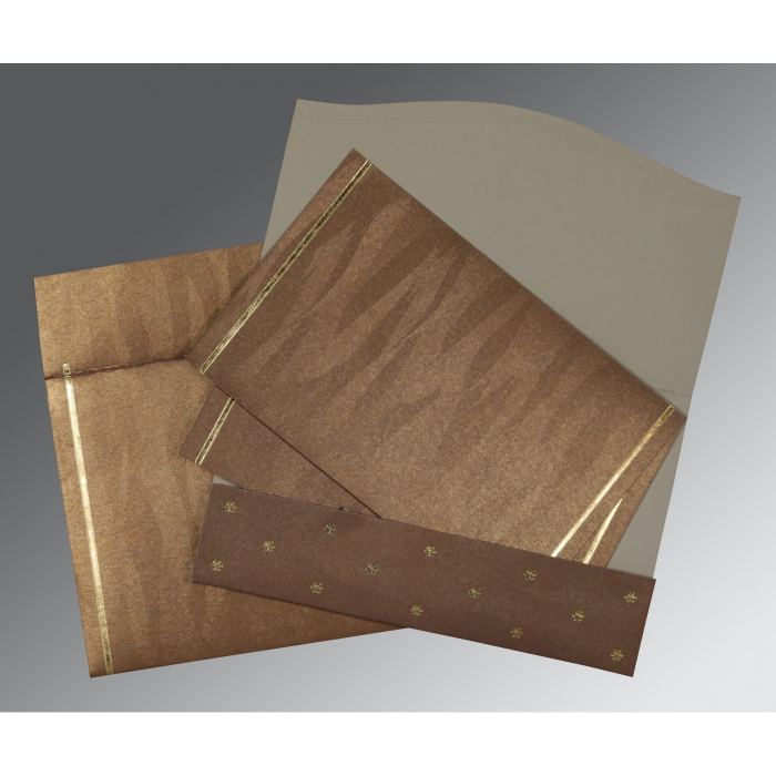 Brown Shimmery Pocket Themed - Foil Stamped Wedding Card : D-1413 - 123WeddingCards
