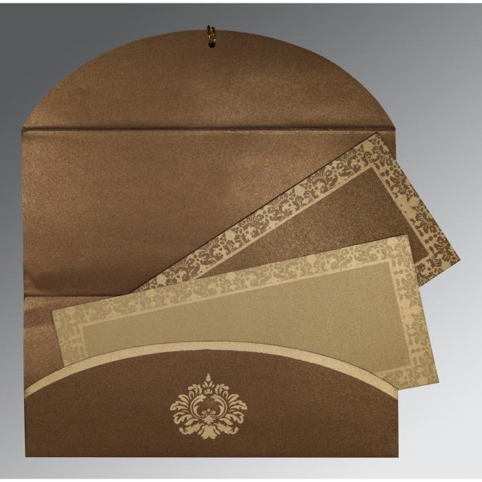 Brown Shimmery Screen Printed Wedding Invitation : I-1500 - 123WeddingCards