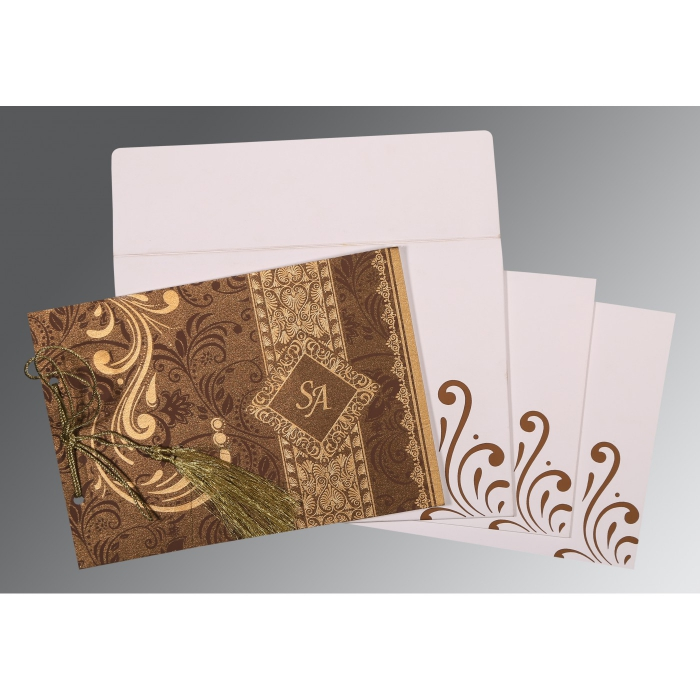Brown Shimmery Screen Printed Wedding Card : SO-8223O - 123WeddingCards