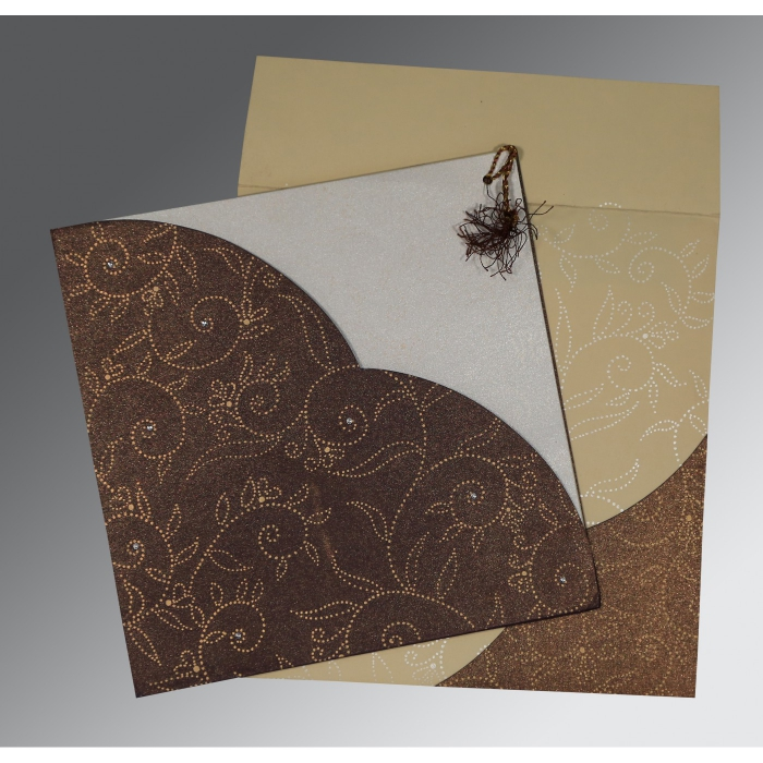 BEIGE BROWN SHIMMERY SCREEN PRINTED WEDDING INVITATION : W-1447 - 123WeddingCards