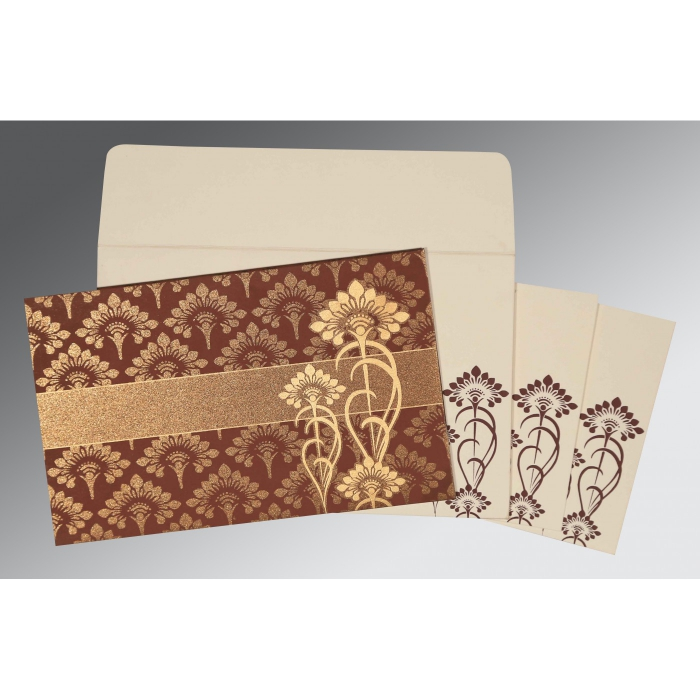 MOCHA SHIMMERY SCREEN PRINTED WEDDING CARD : W-8239C - 123WeddingCards