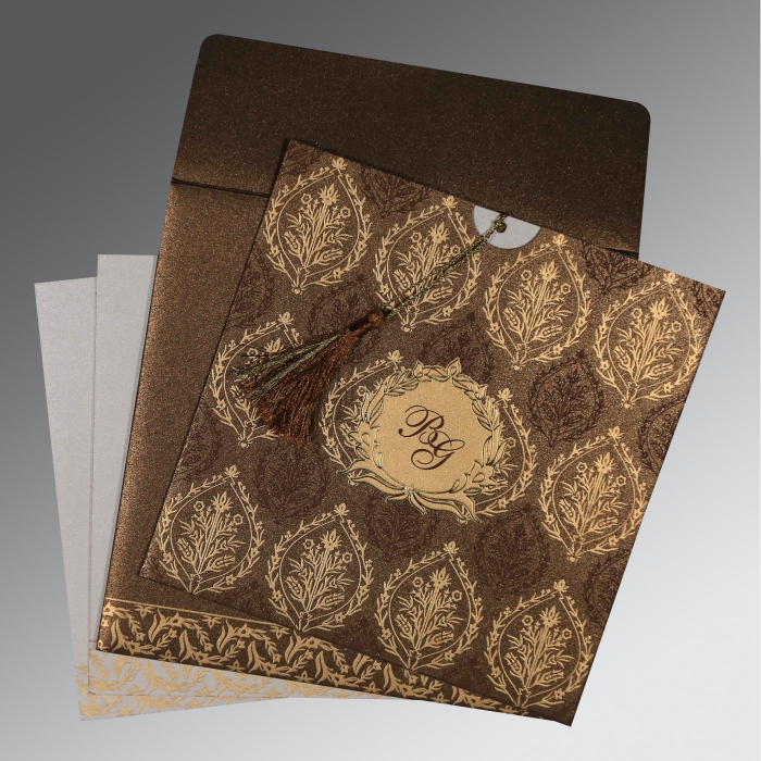 BROWN SHIMMERY UNIQUE THEMED - FOIL STAMPED WEDDING CARD : C-8249J - 123WeddingCards
