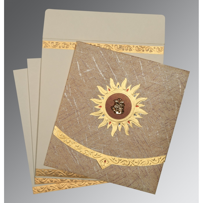 Brown Wooly Embossed Wedding Invitations : C-1225 - 123WeddingCards