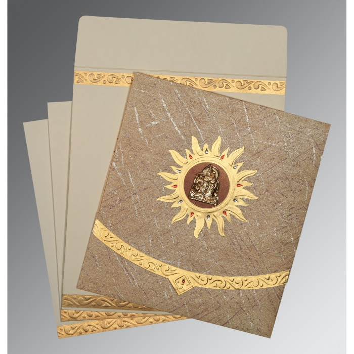 Brown Wooly Embossed Wedding Card : G-1225 - 123WeddingCards