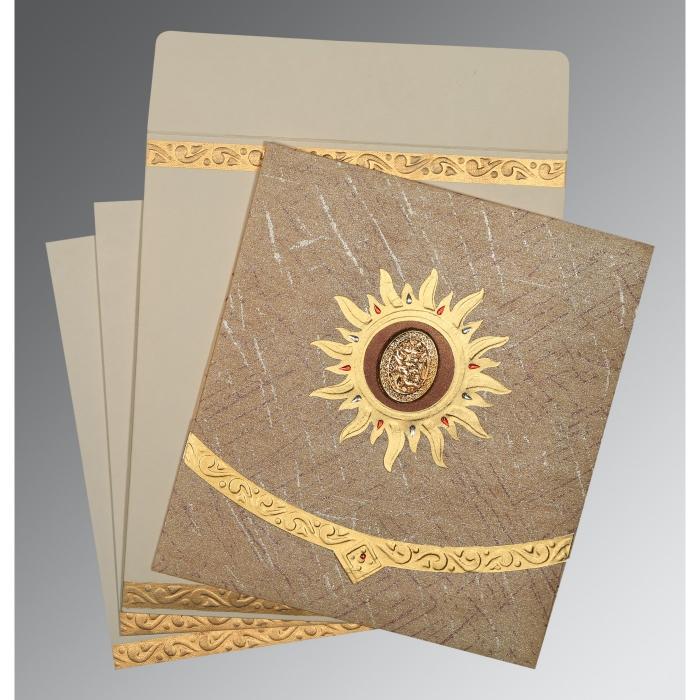 Brown Wooly Embossed Wedding Card : I-1225 - 123WeddingCards