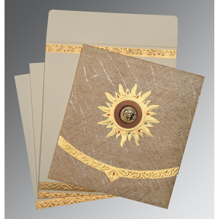 Brown Wooly Embossed Wedding Card : S-1225 - 123WeddingCards