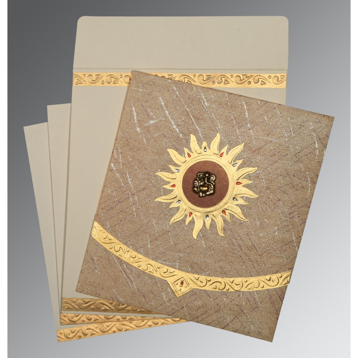 Brown Wooly Embossed Wedding Card : W-1225 - 123WeddingCards