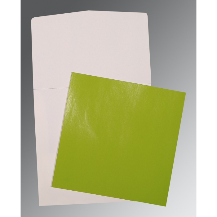 PARROT GREEN GLOSSY WEDDING CARD : P-0017 - 123WeddingCards