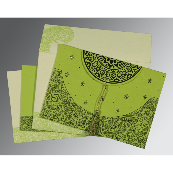 PARROT GREEN HANDMADE COTTON EMBOSSED WEDDING CARD : C-8234H - 123WeddingCards