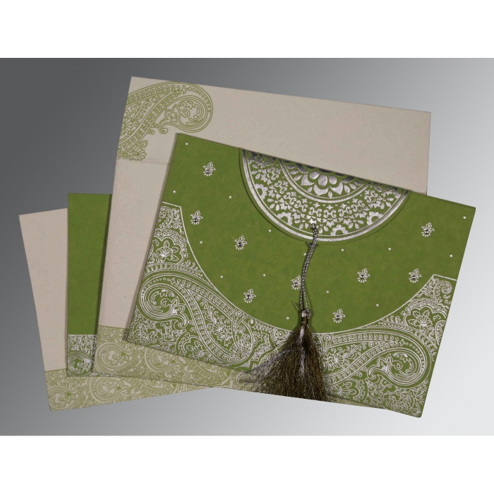 DARK OLIVE GREEN HANDMADE COTTON EMBOSSED WEDDING CARD : IN-8234C - 123WeddingCards