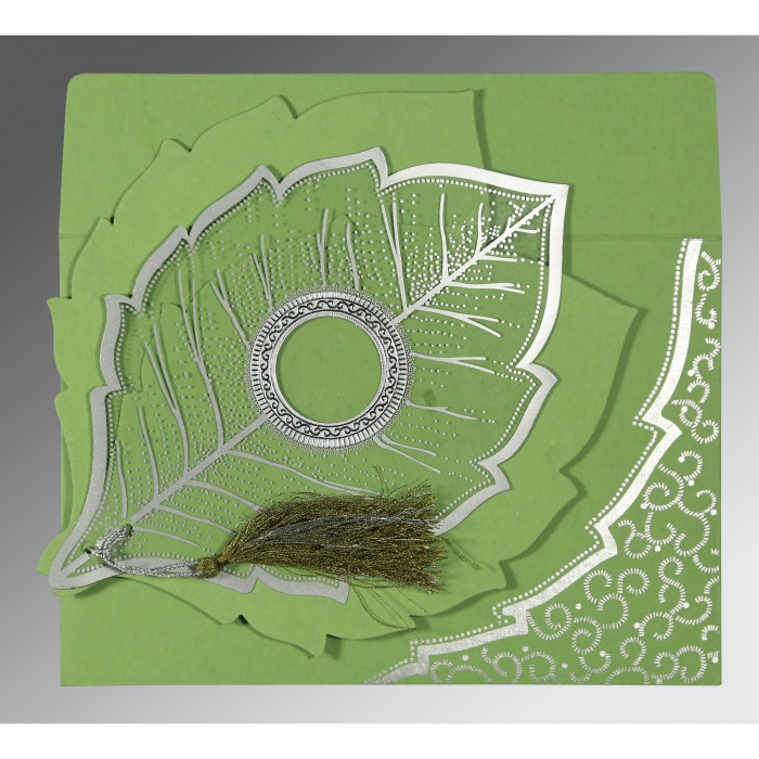 Green Handmade Cotton Floral Themed - Foil Stamped Wedding Invitations : I-8219J - 123WeddingCards