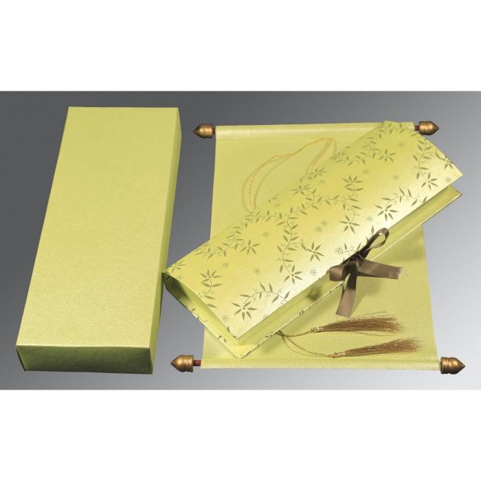 Green Handmade Shimmer Wedding Invitation : SC-5007I - 123WeddingCards